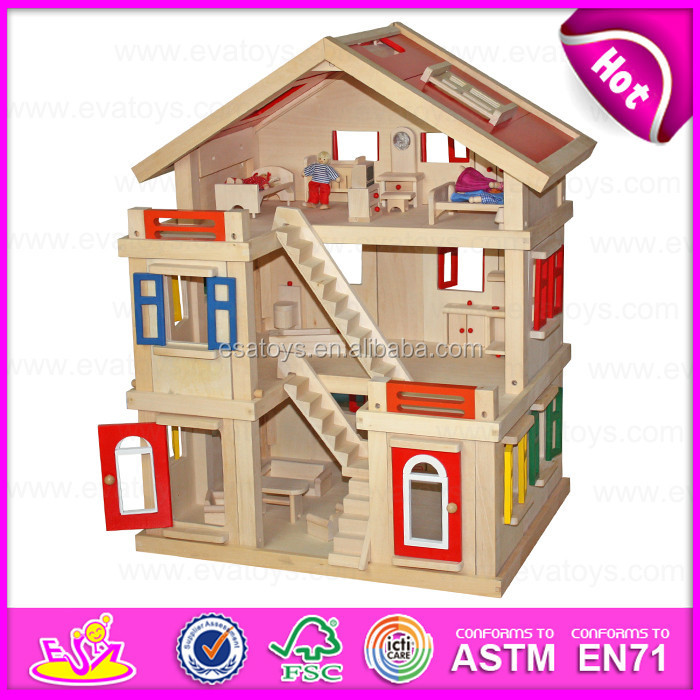 2015 happy family doll house for kids diy toy wooden doll house toy for children best seller. Black Bedroom Furniture Sets. Home Design Ideas