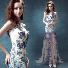 chinese style white and blue maxi slim sexy ladies formal&party evening dresses XYD-HB1003