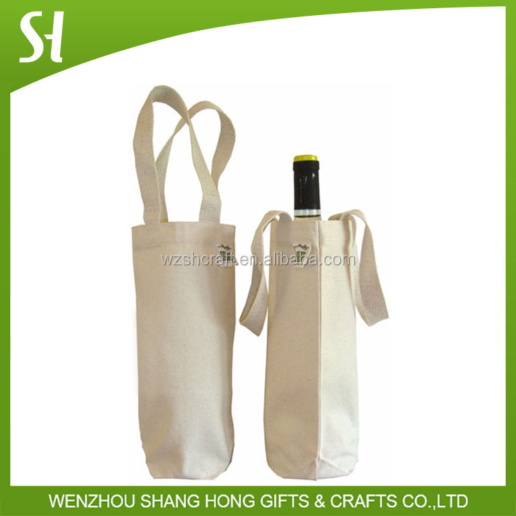 promotional factory price cotton carry bag/White plain wine tote bag