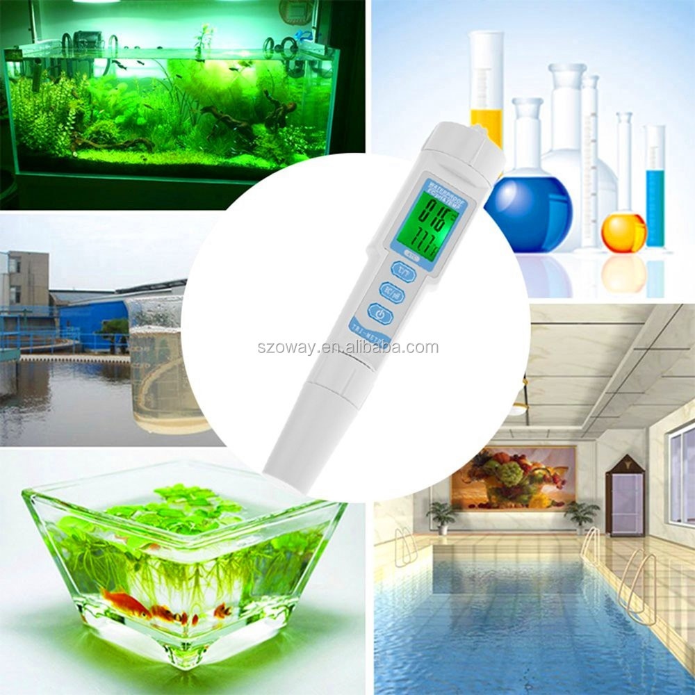 ATC backlight waterproof IP65 PH EC TEMP correction ph meter