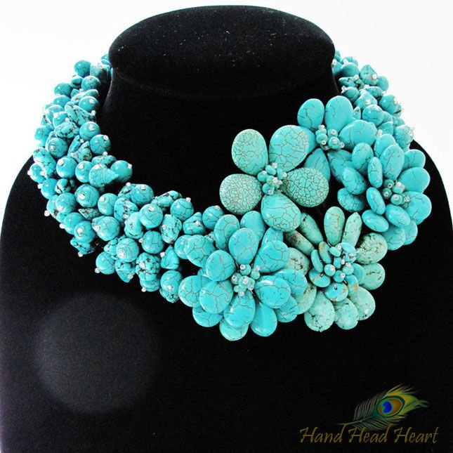 flower blossoms Turquoise Necklace Gemstones Handcrafted