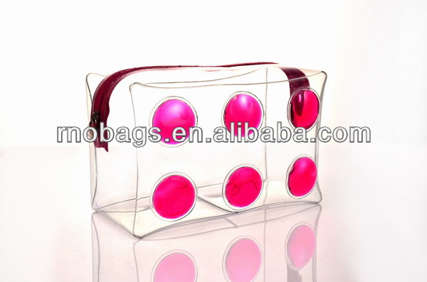 liquid filled transparent plastic vinyl PVC zippered make up pouch