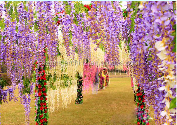 Long Stem Artificial Wisteria <strong>flowers</strong> for wedding decorations Wedding Decor home decoration garland ornament