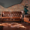Antique Living Room Genuine Leather Sofa