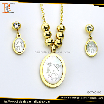 China Wholesale Gold Plated Stainless Steel And Shell Necklace And Earrings jewelry Set For Gift. Wedding Crystal Jewlery Sets.