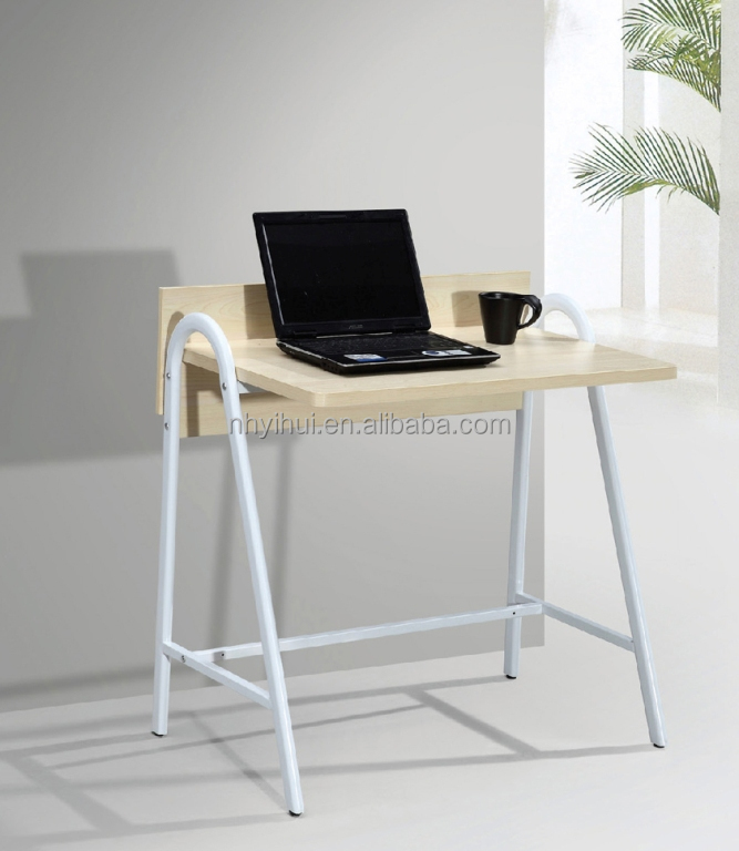 Simple office table T18 with steel frame wooden top for home or office