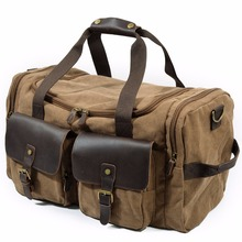 Leather Canvas Duffle Bag Weekend Overnight Bag Travel Tote Duffel Luggage