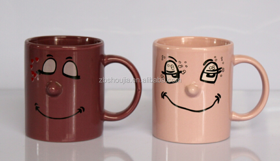 HIGH QUALITY AND HOT SALE CERAMIC 11OZ SOLID DECAL NOSE MUG