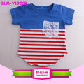 Girl two colored tee shirt embroidered frock design cotton boutique block striped curved hem wholesale t-shirts with lace pocket