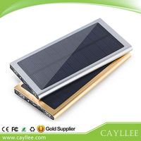 Aluminium Alloy Ultra Thin Solar Power Bank Mini Portable Solar Charger USB 20000mah Solar Power Bank for Samrtphone