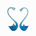 Blue elegant glass swan