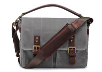 Canvas Leather Messenger Bag , Vintage Leather And Waterproof Waxed Canvas Messenger Bag