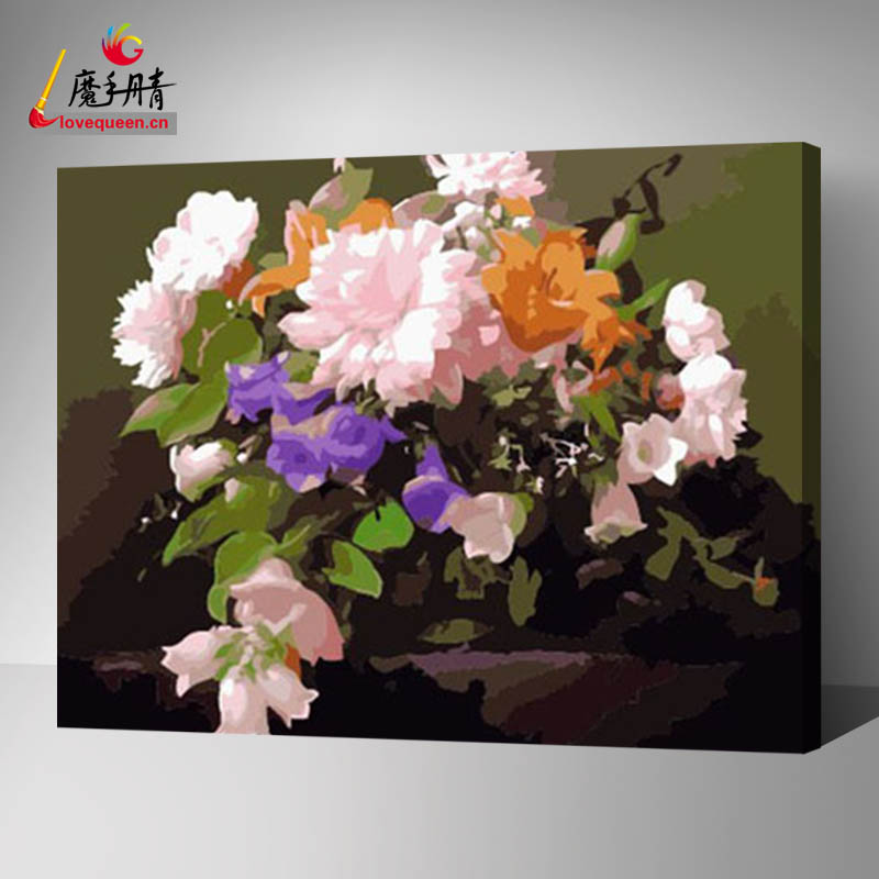 fabric flowers painting designs in chinese factory diy on canvas oil art decorative painting by numbers