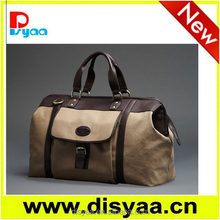 2016 hot sell fashional classical travel bag with leather handle canvas travel bag canvas tote bag