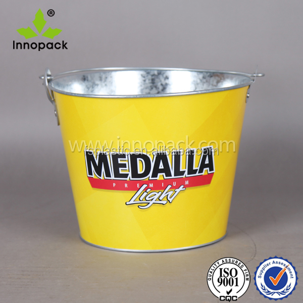 5 L metal pail for beer bottles cooler with custom logo