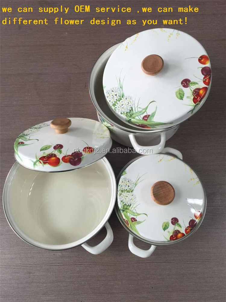 3 enamel cookware set with white flower decal wooden lid from China factory