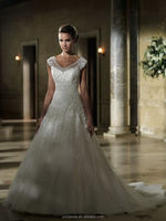 2015 Custom Made Cap Sleeve Ball Gown crystal wedding factory dresses