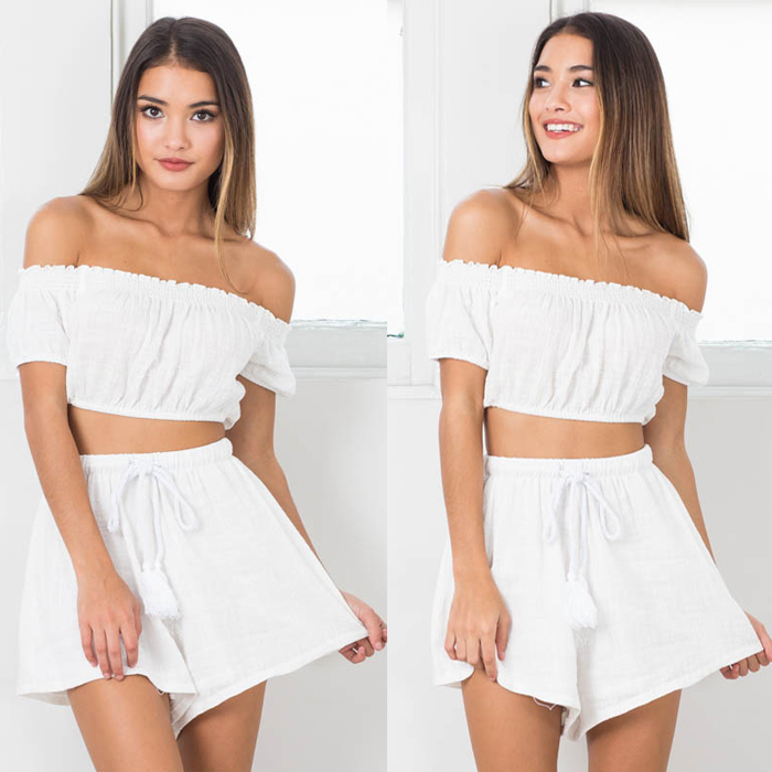 Summer White Two Piece Outfits Women