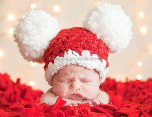 Camera Shooting Cap Large White Balls Red Crochet Funny Baby Hat