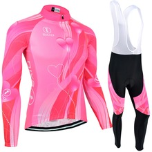 BXIO Por Team Bike Jerseys Long Sleeve Fluo Pink Cycling Jerseys Mujer Ropa Ciclismo MTB Spring Bicycle Clothing BX-0109FP123