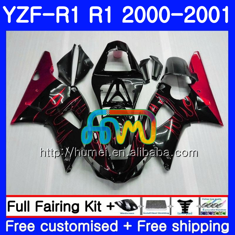 Bodywork For YAMAHA red flames YZF 1000 YZF-<strong>R1</strong> 2000 2001 Body 98HM54 YZF1000 YZF R 1 YZFR1 00 <strong>01</strong> YZF-1000 YZF <strong>R1</strong> 00 <strong>01</strong> Fairing