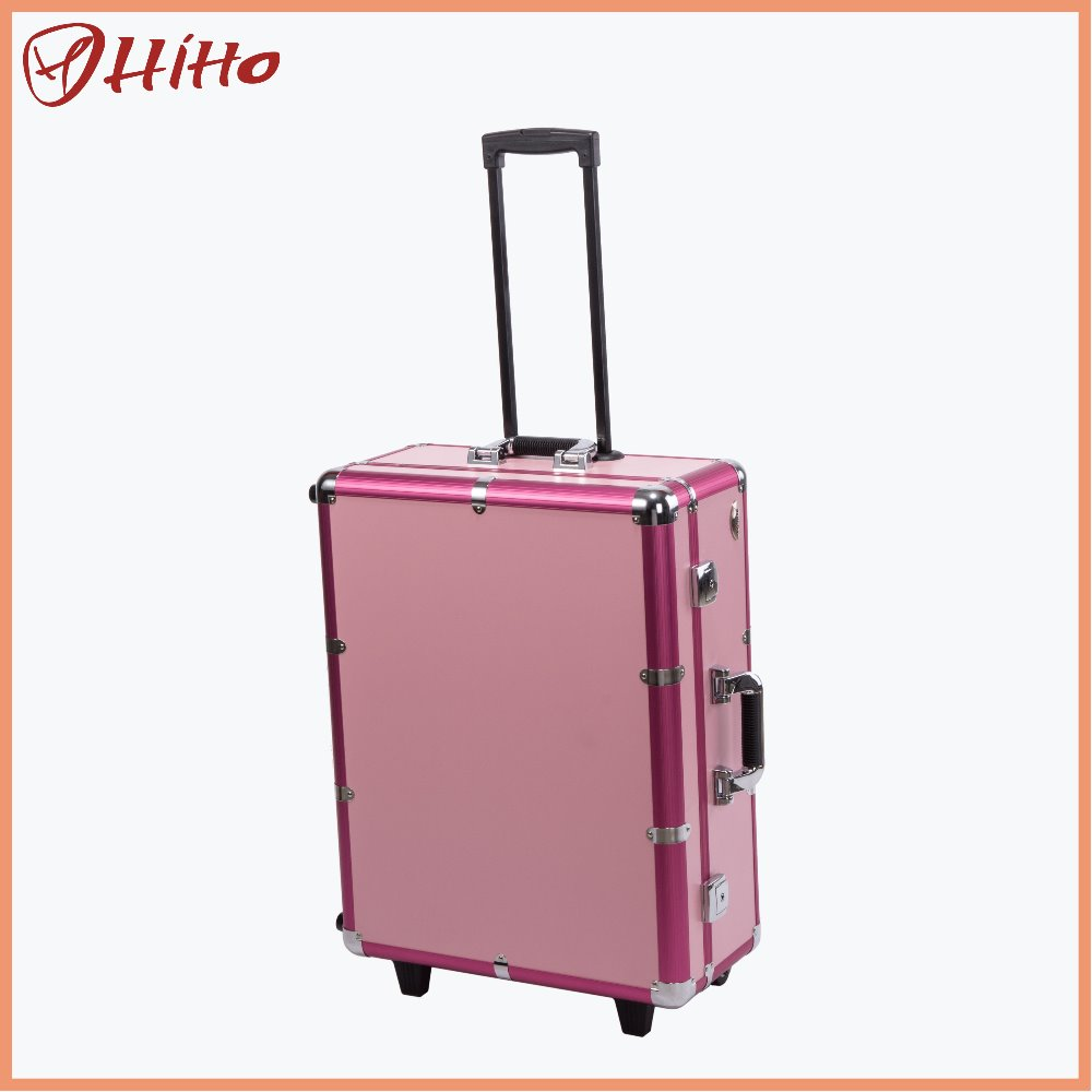 Aluminum Lighted Trolley Makeup Case With Legs