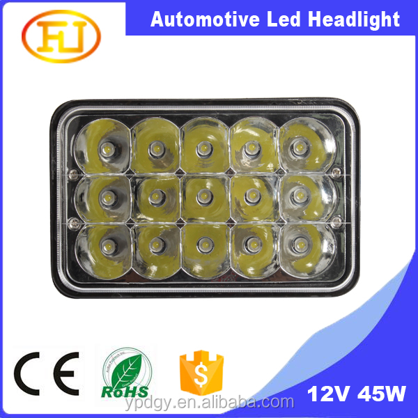 New Model Square 7'' H/L Head Light with Angel Eyes, 12V 24V 45W 5x7 LED Headlight for Truck