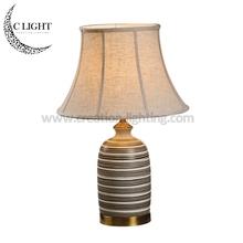 Chinese Ceramic Table Lamps Stripe Drawing Fabric Shade