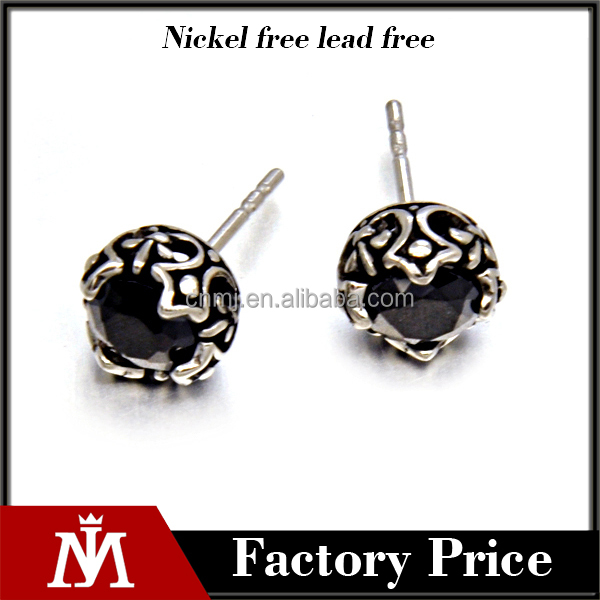 mens earring black diamond earrings cuban fsahion flower earrings