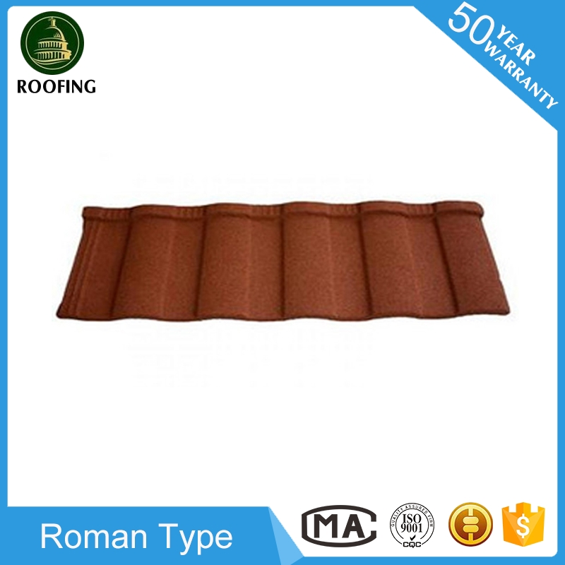 2016 hotsale Roman coated steel metal roofing tiles,stone coated metal roofing shingles with great price