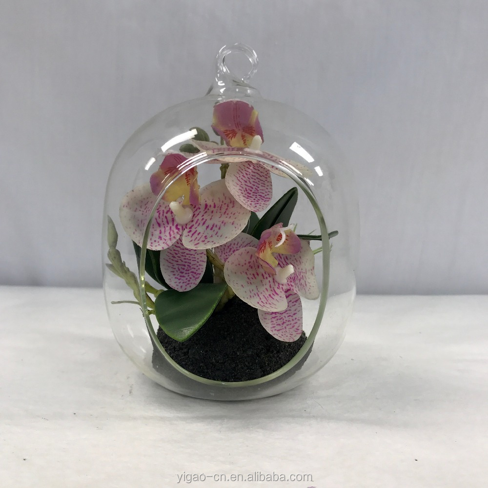 wedding table centerpieces real touch artificial orchids flowers plant with hanging glass pot