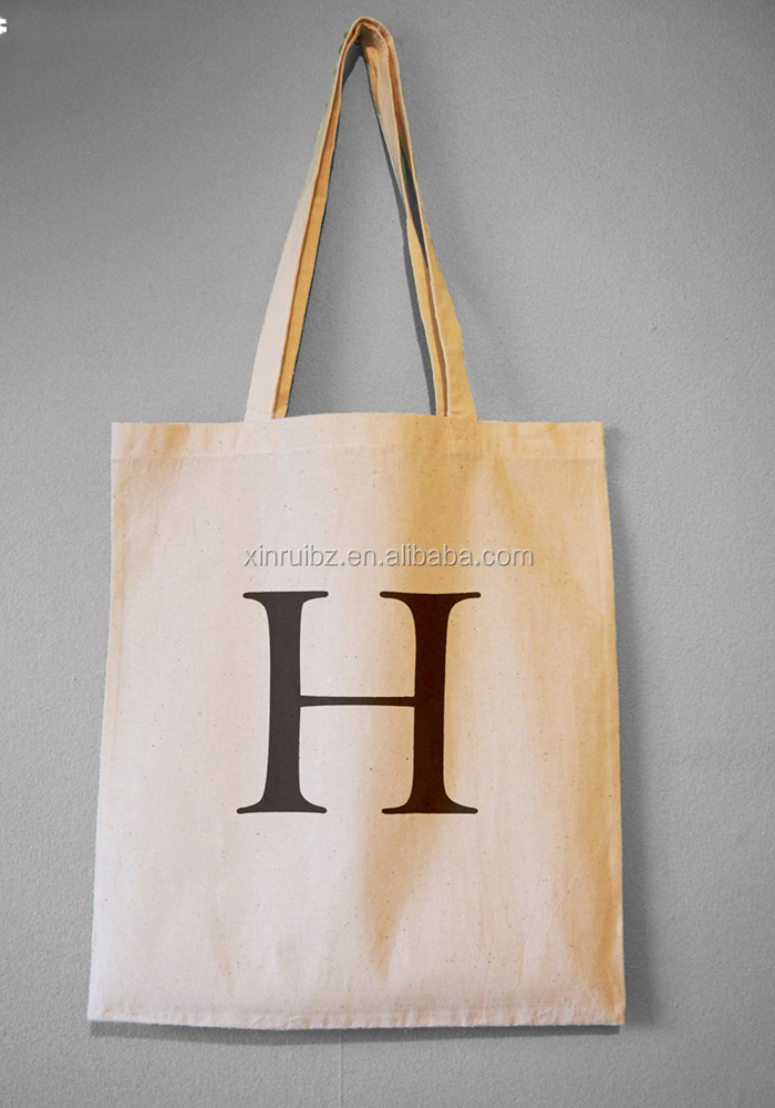 Promotional natural eco shopper bag 100% cotton carry bag with logo printing