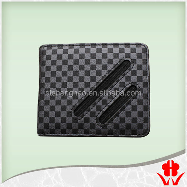 Grid pattern leather PVC card wallet men