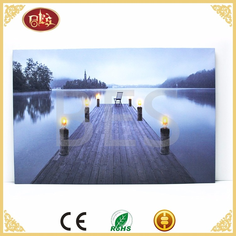 lake side landscape famous led canvas oil print art painting led