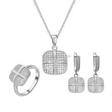 New Year Gift! Cushion 925 Silver Jewelry, Fashion Party Micro Pave Setting Jewelry Set