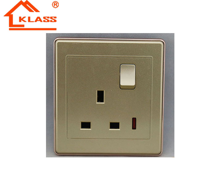 carve design gold color 13 amp wall electrical switch socket