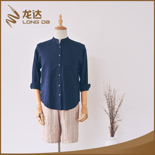 Longda Factory deirectly summer linen navy model casual man shirt