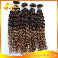 Beautiful hot selling 6A Brazilian 100% human hair deep curly ombre colored two tone hair weave