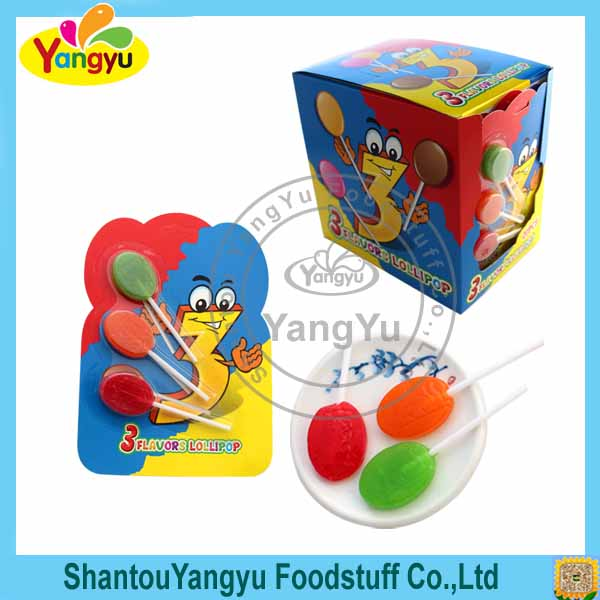 Latest model different fruit flavor 3 in 1 magic pop lollipop