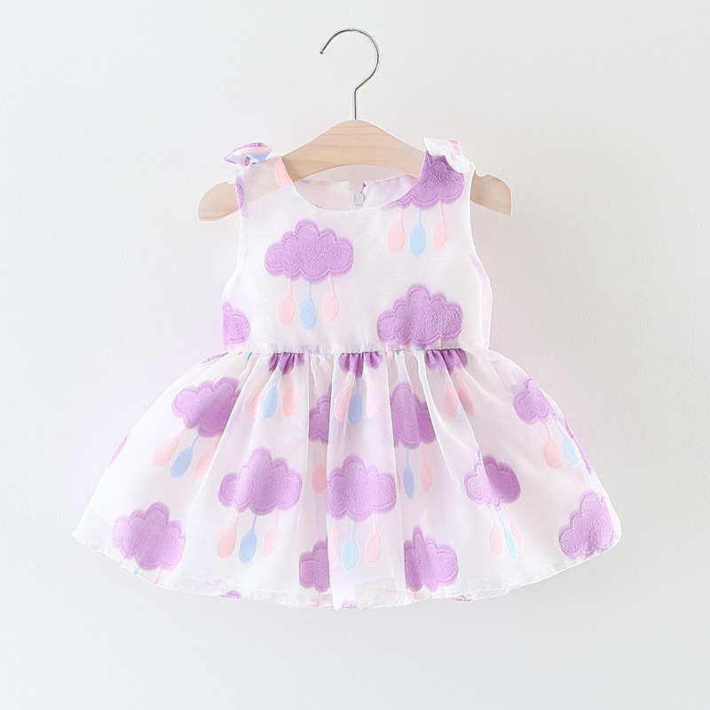 2017 Summer Newest Organza Cloud Design One-Piece Bowknot Baby Girl Dress