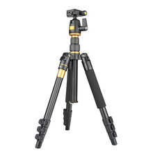 New Q555 Professional Portable Aluminum Tripod Monopod Ball Head For DSLR Camera Double Axial Camera Tripod Stand + Tripod Bag
