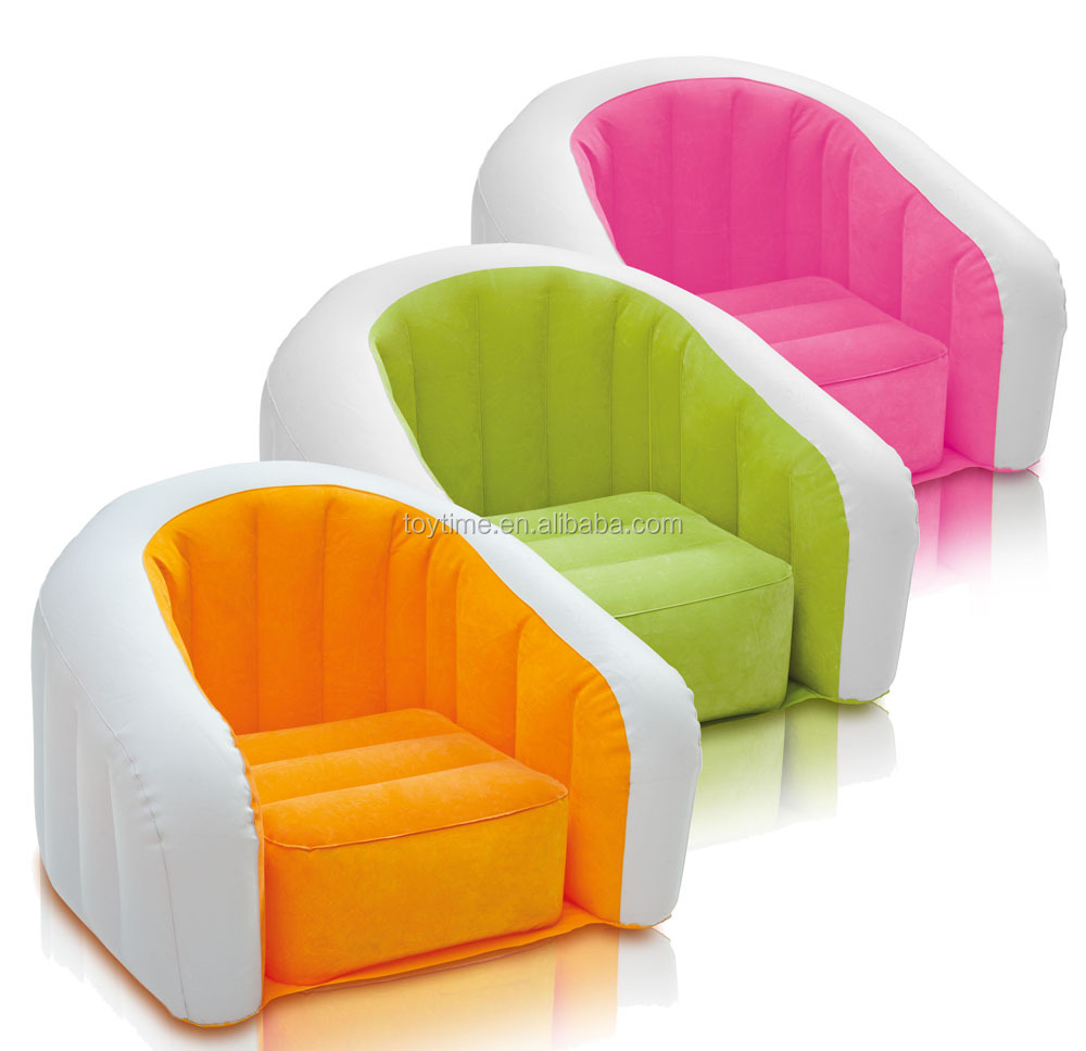 2016 flocking inflatable sofa, single pvc inflatable sofa chair