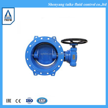 Ductile iron hand wheel flange wafer type semi lug butterfly valve for flue gas