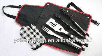 3- Pieces wooden handle bbq tools with glove