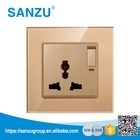 High Quality Toughened Glass Panel Switch, Switched Socket, Wall Switch and Socket