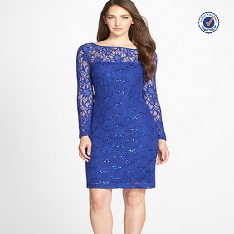 OEM service women long sleeves knee length bodycon royal blue lace dress