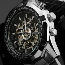 Hot 2015 Winner Luxury Brand Luxury Sport Men Automatic Skeleton Mechanical Military Watch Men full Steel Stainless Wristwatches