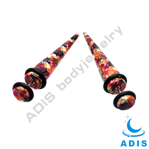 Charming body jewelry custom pattern wholesale acrylic fake taper