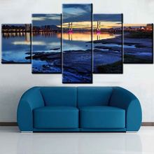 Home Decoration 5 panel canvas wall art Group Sea Village Scenery Oil Painting On Canvas