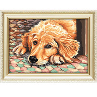Canvas my lovely dog DIY oil painting by number for decoration